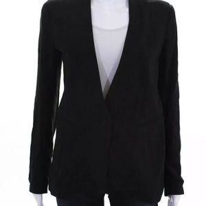 Theory Womens Long Sleeve V Neck Collarless Blazer